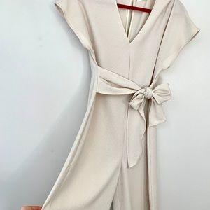 The Standard Cream Wide Leg Bow Jumpsuit Sz Small